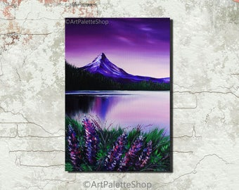 Purple lavender Painting on canvas Mountains lake Mountains art Flower painting Purple sunset Wildflower Nature art Valentines Day decor