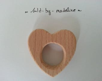 """Heart"" natural wooden teething ring"