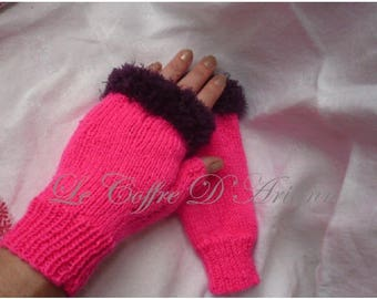 Fingerless gloves Womens neon pink and purple