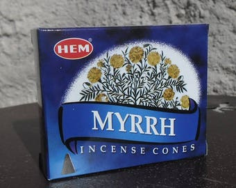 Box of 10 incense cones to scent your home myrrh