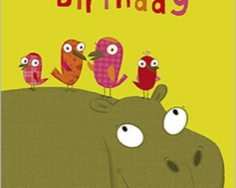 Happy Hippo about 10x7cm birthday greeting card
