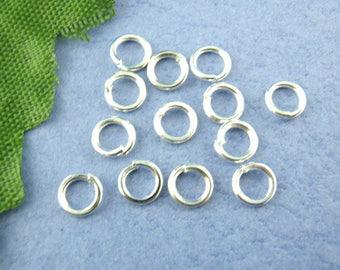 lot 50 rings open silver 4mm