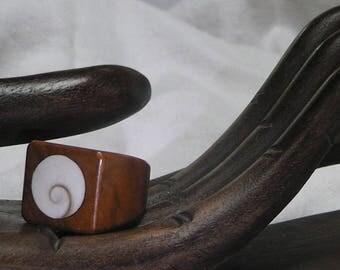 "Wood Burr inlay ""eye of shiva"" Heather ""Simplicity"" ring"