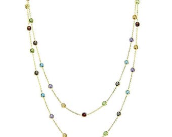 "14K Yellow Gold Handmade Station Necklace With 4 MM Gemstones By The Yard 36"", 40"" and 48 Inches"