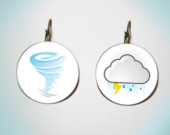 Earrings - cabochon - weather - tornado & storm