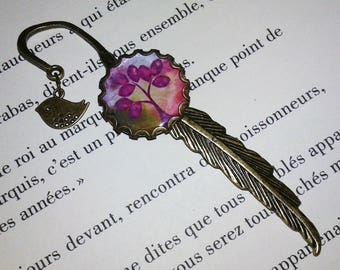 Bookmark feather - bronze color - purple and green tree of life