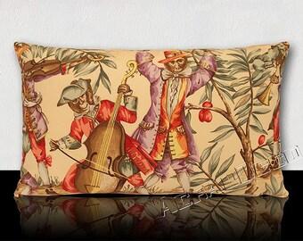 "Cushion rectangular DESIGNER PIERRE FREY-""Antics"". Monkeys in clothes/multicolored Music Instruments."