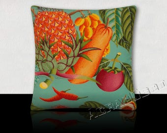 Pillow Design fruit and foliage exotic pineapple/chili/papaya orange/pink Indian/green turquoise background