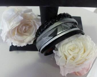 black leather magnetic bracelet