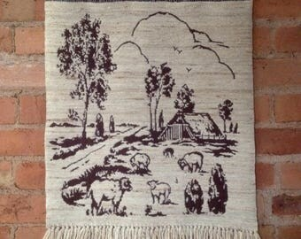Country Farmhouse Style Woven Wool Wall Hanging Vintage 1970s - 80s