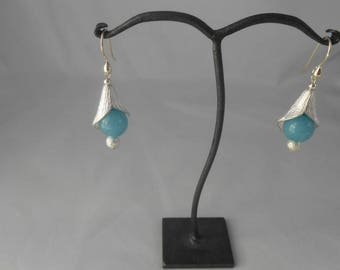 Earrings with aquamarine Corolla Navy 12 mm