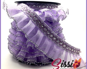 1 M couture lingerie 40mm sterling silver purple ruffled lace trim Ribbon