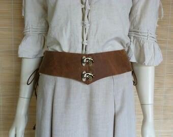 Underbust Corset Brown distressed leather belt