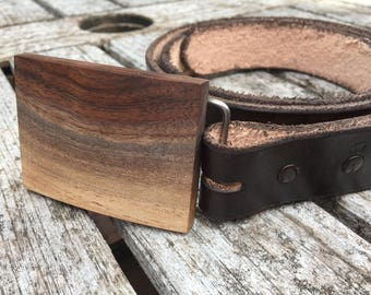 Wood belt buckle with leather belt