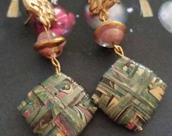 Elegant earrings with marbled paper beads and glass beads