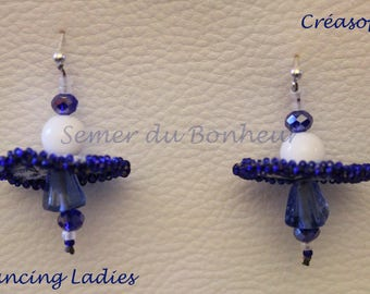 """""""Dancing Ladies"""" earrings, Liberty fabric, Crystal and glass beads"""