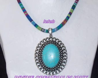 Necklace made with a large turquoise stone