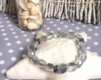 Bracelet beads blue transparent Crystal