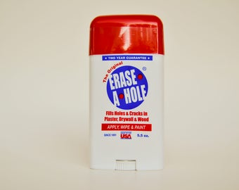 Erase A Hole, Fill holes in walls in two easy steps, apply and wipe.  2 Year Guarantee.  Water cleanup, sandable, paintable.