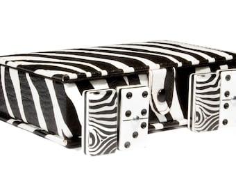 Zebra Domino 100% Acrylic, Faux Leather Case
