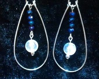 Blue/Purple iridescent Swarovski crystal and silver earrings