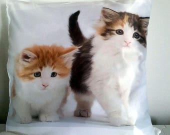 Gorgeous printed satin cushion kittens