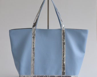 Faux leather blue tote bag silver glitters handmade @lacouturebytitia women's fashion