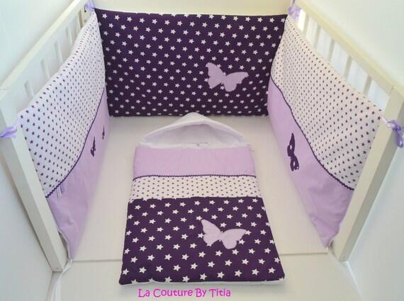 tour de lit et nid d 39 ange 0 6 mois fait main etoiles. Black Bedroom Furniture Sets. Home Design Ideas