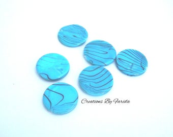 Set of 6 beads round 20 mm disc, turquoise color.