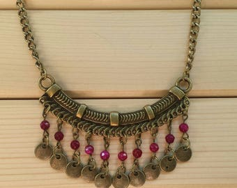 Ethnic bronze and fuchsia necklace