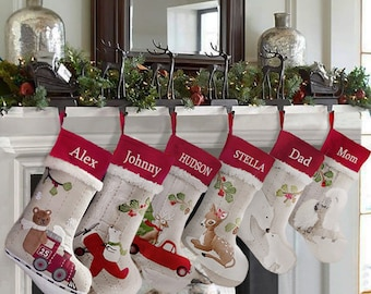 Personalized Christmas Stocking,Handmade Christmas Stocking for Family,Burlap Christmas Stocking with 12 Designs,Christmas Tree Decoration.