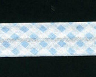 Bias gingham sky blue 100% cotton