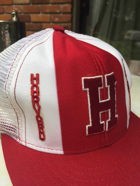 80s Harvard Crimson mesh snapback baseball cap trucker hat sz L ...