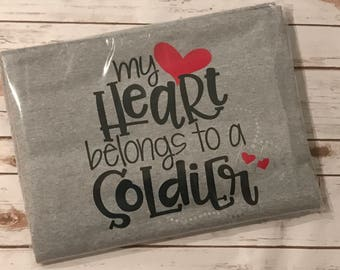 Military Wife Blanket - Personalized - My Heart Belongs to a Solider - Sweatshirt Blanket - Army Navy Air Force Marines National Guard