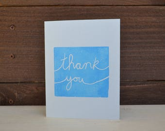 Hand stamped Thank You cards set of 5