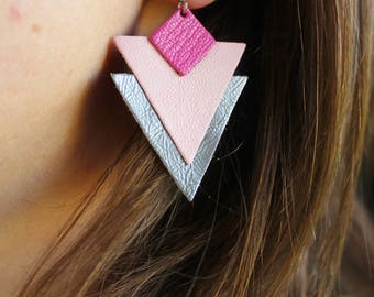 TRIANGLE leather earrings pink and gray