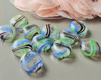 2 beads mouth blown glass, transparent green round glass Pearl stripe 20 mm