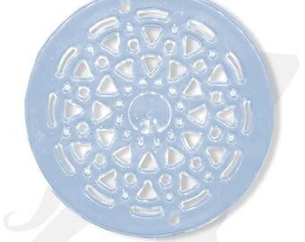 Grand connecteur - Différents coloris - connecteur/pendentif disque 50mm acrylique transparente colorée, percé de multiples trous