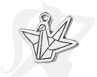 Bird origami folding - 22mm silver pendant charm