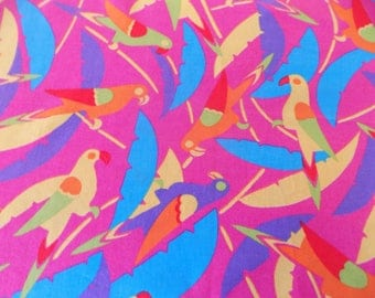 Cotton fabric multicolor Parrot pattern