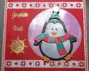 Christmas card Penguin, red and white Scandinavian way