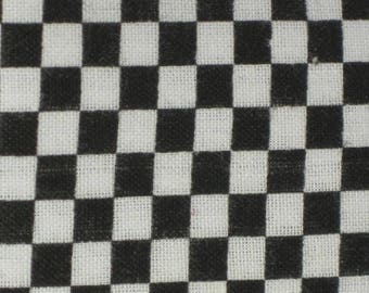 """Coupon of fabrics printed """"Black and white checkered"""" 55 x 45.5 cm"""