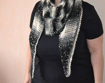 Large scarf / glitter and matching brooch