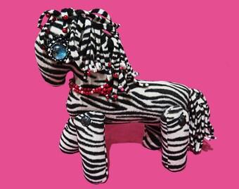 Soft toy Horse zebra plush Interactive gift child, handmade felt zebra, cuddly zebra, safari animal