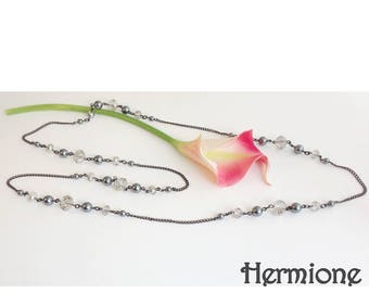 Retro necklace beads grey Hermione