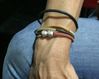 Bracelet rawhide woman combining chocolate black natural rust and Sienna free shipping in France