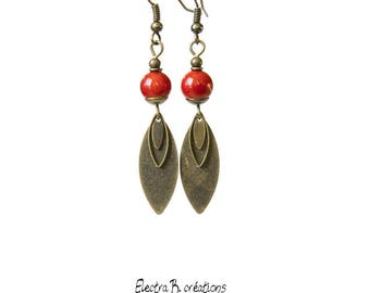 Red coral beads, sequins smooth feather boho earrings bronze