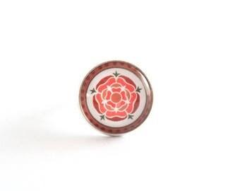 Orange flower cabochon Adjustable ring