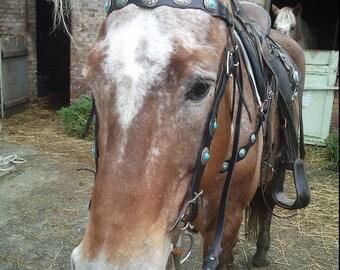 turquoise western horse tack set