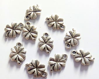 10 silver metal four leaf clover charms